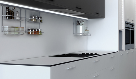 Splashback and worktops upstands