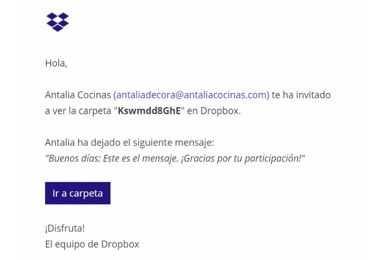 Cómo puedes presentar la documentación de antalia decora por Dropbox